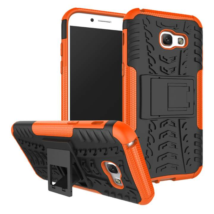 Samsung Galaxy A5 2017/A5 2018(A8 2018)/A6 /A6 Plus Case,Shockproof Tough Dual Layer Cover Shell (orange) For Galaxy A5 2017