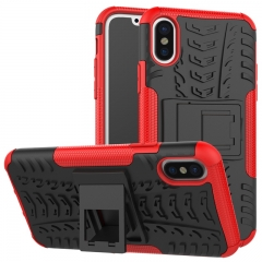 iphone X Case,Hard PC+Soft TPU Shockproof Tough Dual Layer Cover Shell (red) For iphone X