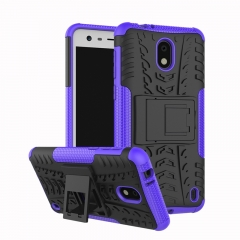 Nokia 2 /Nokia 6 2018/Nokia 1/ Nokia 3 Case,Hard PC+Soft TPU Shockproof Tough Dual Layer Cover Shell (purple) For Nokia 2