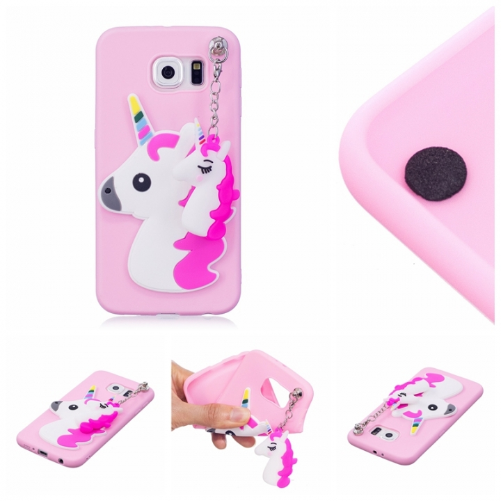 big sale 1b43f 3b5f4 Samsung Galaxy S6 Case,3D Cute Candy Color Soft TPU Rubber Protective Case  Christmas Gifts (Pink unicorn) For Samsung Galaxy S6