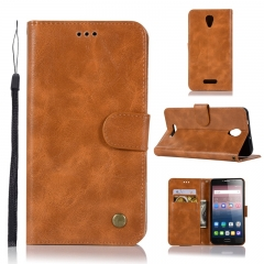 Alcatel Pop 4 Plus Case,High-grade retro PU Leather Wallet Style Stand Flip Case Cover (golden yellow) .