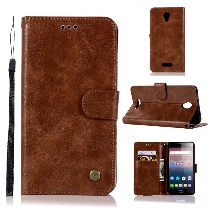 premium selection 3832a 49aa7 Alcatel Pop 4 Plus Case,High-grade retro PU Leather Wallet Style Stand Flip  Case Cover (brown) .