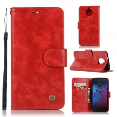 Motorola Moto G5S Plus Case,High-grade retro PU Leather Wallet Style Stand Flip Case Cover (Red)