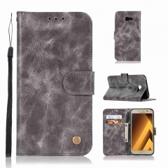 Samsung Galaxy A7 A3 A5 2017/ A8 A8 Plus 2018 Case,PU Leather Wallet Style Stand Flip Case Cover (gray) For Samsung Galaxy A7 2017