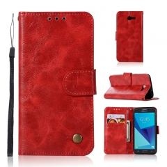 Samsung Galaxy J3 2017/J3 Prime/J7 Prime/On7 2016/J7 2017/J730 J330 2017 Case,PU Leather Wallet Case (Red) for Samsung Galaxy J3 2017