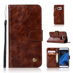 Samsung Galaxy S7/S7 Edge/S8/Note 8/S9/S9 Plus Case,retro PU Leather Wallet Style Stand Flip Case (Brown) For Samsung Galaxy S7