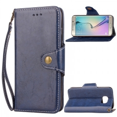Samsung Galaxy S6 Edge Case,Retro Business Leather Wallet Case Protective Flip Stand with Lanyard (blue) For Galaxy S6 Edge