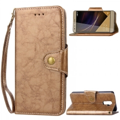 Huawei Honor 7 Case,Retro Business Leather Wallet Case Protective Flip Stand with Lanyard (gold) For Huawei Honor 7