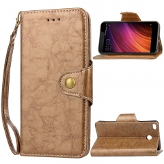 Xiaomi Redmi 4X Case,Retro Business Leather Wallet Case Protective Flip Stand with Lanyard (gold) For Xiaomi Redmi 4X