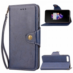 OnePlus 5 Case,Retro Business Leather Wallet Case Protective Flip Stand with Lanyard (blue) For OnePlus 5