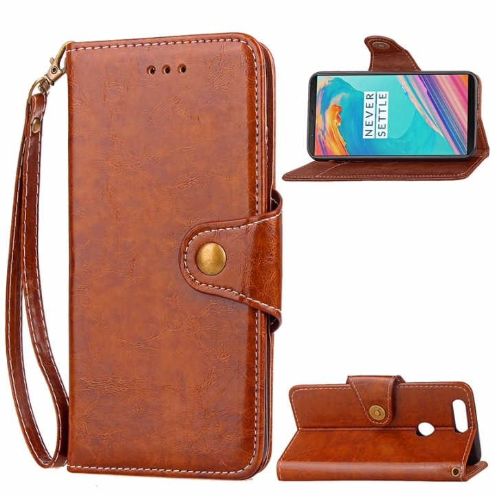 sports shoes 1d8d0 0cb1d OnePlus 5T Case,Retro Business Leather Wallet Case Protective Flip Stand  with Lanyard (brown) For OnePlus 5T