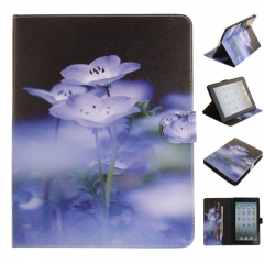 iPad 2 3 4 Case,PU Leather Flip Wallet Case Protective Case Kickstand Cover with Card Slots (blue flower) for ipad 2 3 4
