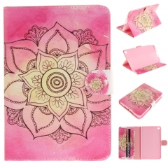 iPad Mini 4 Case,PU Leather Flip Wallet Case Protective Case Kickstand Cover with Card Slots (big flower) for ipad mini 4