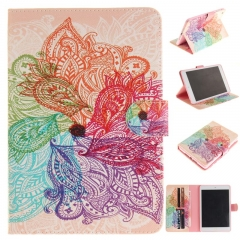 IPad Mini 1/2/3 Case,PU Leather Flip Wallet Case Protective Case Kickstand Cover with Card Slots (colorful flowers) for ipad mini 1/2/3