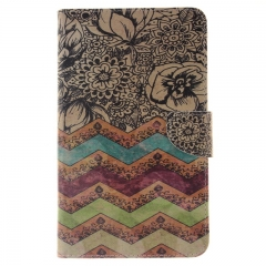 Samsung Galaxy Tab 4 7.0 T230 Case,PU Leather Flip Wallet Case with Card Slot Case Cover (wave flower) For Galaxy T230