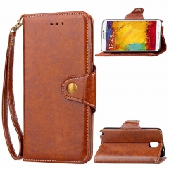 Samsung Galaxy Note 3 Case,Retro Business Leather Wallet Case Protective Flip Stand with Lanyard (brown) For Galaxy Note 3