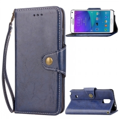 Samsung Galaxy Note 4 Case,Retro Business Leather Wallet Case Protective Flip Stand with Lanyard (blue) For Galaxy Note 4