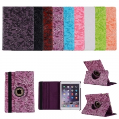 360 Degrees Rotating Stand Leather Case embossed grape & flower For iPad Air/iPad Pro 9.7