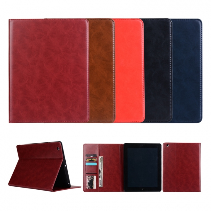 """iPad 2 3 4/ipad air /iPad Pro 9.7""""/iPad Mini 1 2 3 4/iPad Pro 10.5"""".PU leather wallet case cover (brown) for ipad air2 (ipad 6)"""