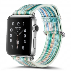 Apple Watch Band 42mm,painted Rainbow Leather Watch Strap Wrist Band  for Apple Watch Series 3/2/1 (pattern H,38mm)