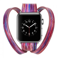 Apple Watch Band 38mm 42mm ,fashion personality New crown double circle leather painted strap (pattern a,38mm)