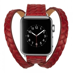 apple watch Genuine Cow Leather Woven Strap Crown Pattern Bracelet watchband For Men and women (pattern a,38mm)