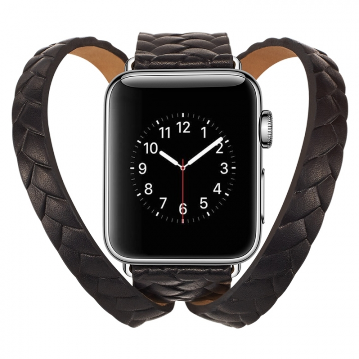 f58c44ad3d9 apple watch Genuine Cow Leather Woven Strap Crown Pattern Bracelet  watchband For Men and women (