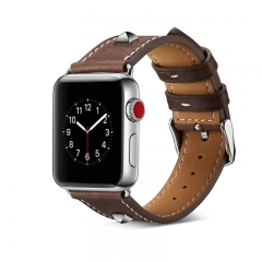 Apple Watch Band 38mm 42mm,Rivet Leather Replacement Watchband Bracelet Strap (Dark Brown) 42mm