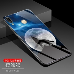 Huawei P20 Lite Case,Tempered Glass Back Cover [Scratch-Resistant] + Soft Silicone Bumper (pattern 1) For Huawei P20 Lite
