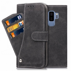 Samsung Galaxy S7 S7 Edge /S8 S9 Plus Case,Matte leather multi-card rotating TPU case holster (black) For Samsung Galaxy S7