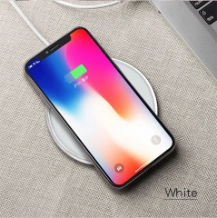 High quality leather wireless fast charging PU panel round wireless charger (white) one size