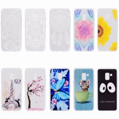 Samsung Galaxy S5 S6 S7 S8 S9/S6 S7 Edge/S9 Plus Case,Transparent TPU Silicone Smart Phone Case (half flower) For Samsung Galaxy S5
