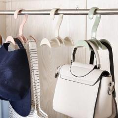 Multi-function rotatable wardrobe bag hanger, plastic double hook coat rack tie storage rack (Nordic green)