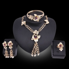 Explosive bride gold jewelry set exaggerated alloy four-piece dress accessories (style 1) one size