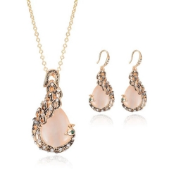 Explosion jewelry necklace retro fashion earrings crystal boutique women's wedding jewelry (pattern 4) one size