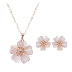 Creative new bridal jewelry set personality small fresh flower necklace earrings two-piece (pattern 1) one size