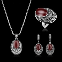 Three-piece set of Turkish style diamond jewelry Necklace earrings ring female accessories new (ancient gold) one size