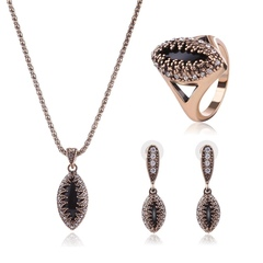 Fashion Jewelry Set Alloy Necklace Ring Earrings Three-Piece Set (ancient gold) one size