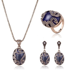 Pop Necklace Earrings Ring Three-Piece Set Alloy Jewelry Set (Ancient Gold) one size