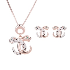 Colorful Diamond Leopard Head Necklace Earring Set Jewelry Set (Rose gold) one size