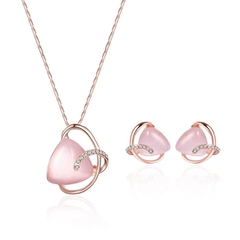 Fashion Necklace Earrings Two Piece Set Bridal Banquet Jewelry Set (Rose gold / 61172336) one size