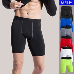 Men's Skinny PRO Shorts / Sports Fitness Running Pants S (Black-grey line)