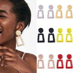 Fashion jewelry explosion models female wild geometric square metal earrings (pattern 1) one size