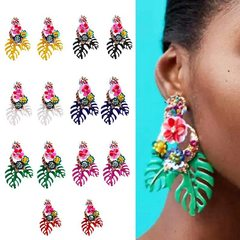 Big name personality alloy leaf flower earrings (green) one size