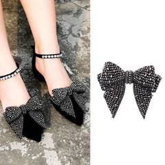 New fashion trend pressure diamond bow shoes flower jewelry handmade DIY shoes accessories (pattern 1) One size