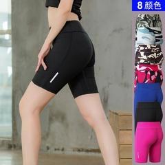 Women's Fitness Yoga Shorts Reflective Night Run Sports Running XS (blue)
