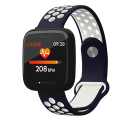 Explosion color screen smart bracelet F15 step heart rate sleep monitoring GPS motion track (Blue and white) one size