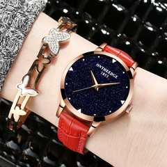 Ladies fashion trend women's watch leather belt waterproof student casual quartz watch (red) One size