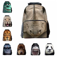 Children's 3D Animal School Backpacks Cool Children Bookbag (pattern 1) 16 inch