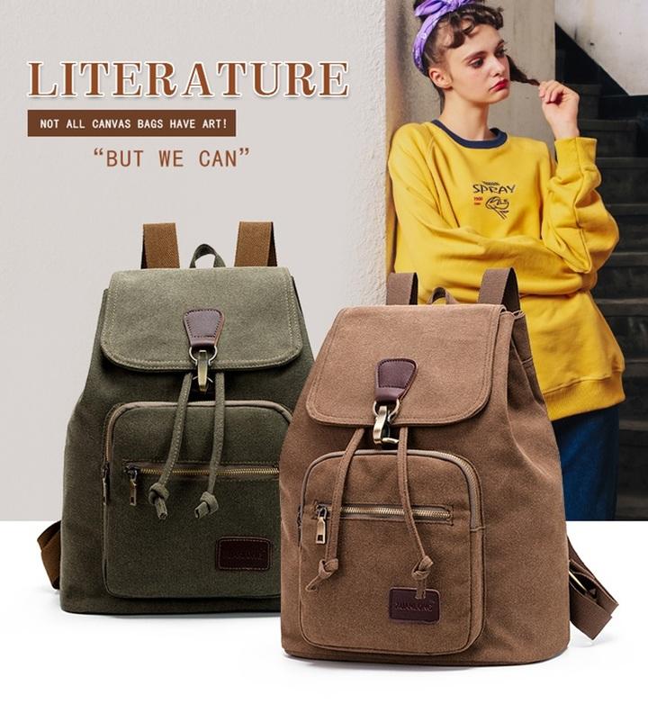 Retro tide girls outdoor canvas backpack bag fashion backpack (Khaki )